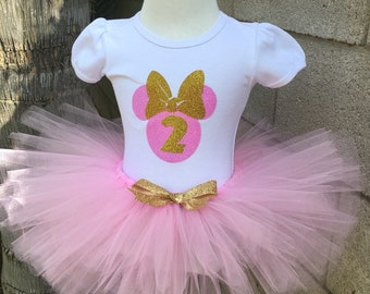 Pink and Gold Minnie Mouse Tutu Set, Pink Glitter Minnie Tutu Set, Pink Tutu, Personalized Birthday Shirt, Birthday Outfit