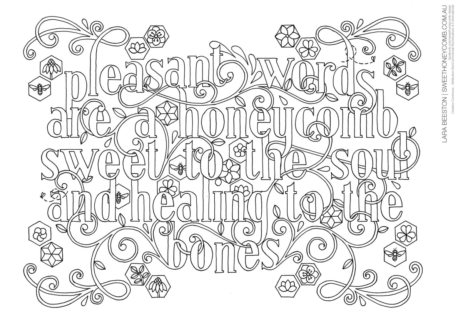 colouring page bible verse proverbs 16 24 instant