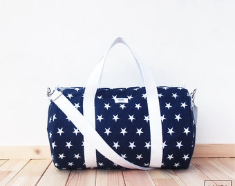 MINI bag of sport and travel-star-color Navy / Sport & Traveler mini duffel bag-color navy blue-stars
