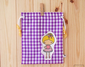 bag of snack of girl with dancer-vichy purple / dancer lunch baby bag-purple vichy