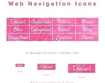 12 Web Navigation Button Icons - Crimson - PNG files