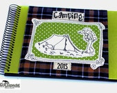 Personalised gift for campers, camping checkered album, photo album camp out, small retro gift camper, retro book application, kultspecht