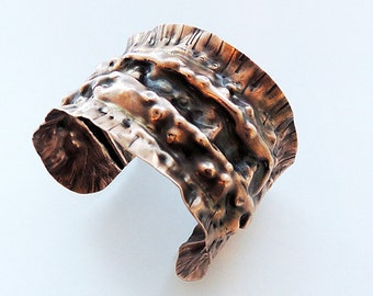 Copper Metalwork  Air Chased Cuff Bracelet