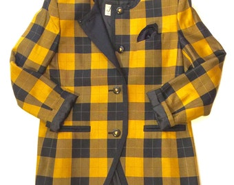 1980s checkered navy blue and mustard yellow blazer