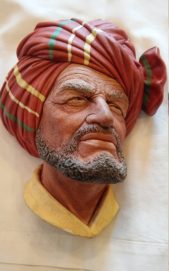 "Vintage 1980 Bosson's Collectible Chalkware Figurine Head of Tribesman ""Abdullah"""