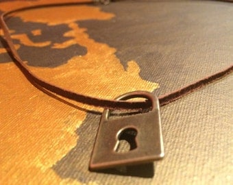 Leather lock necklace