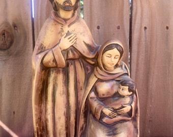 Vintage Religious Statue Joseph, Mary, Jesus