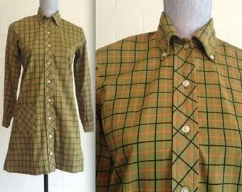 Vintage 60s mod Twiggy smock dress / plaid shift dress / 60s minidress / olive green shirtdress long sleeves