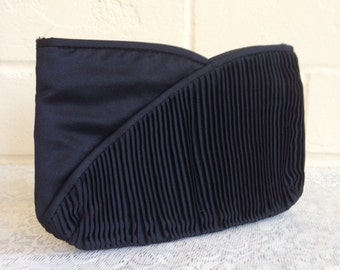 CLEARANCE! Vintage black satin tulip clutch/evening bag - 70s/80s