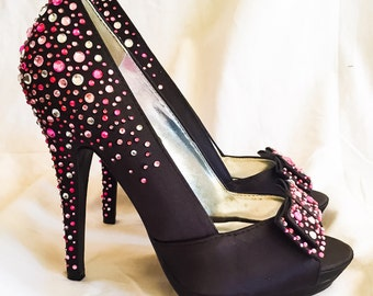 One of a kind Custom hand decorated Black Peep toe high heels