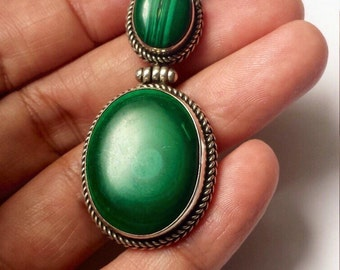 Huge Sterling Silver .925 Pendant With Malachite
