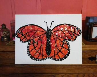 Orange And Black Monarch Butterfly Button Art Collage. Created With New & Vintage Buttons, And Chenille Stems