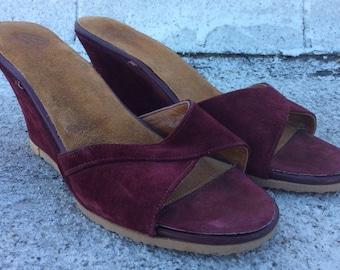 SALE-Vintage 1970s Burgundy Suede Slip-On Wedge Heels, 6.5