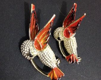 Vintage Hummingbird Pins Signed Gerrys
