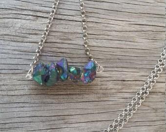 Rainbow titanium quartz necklace