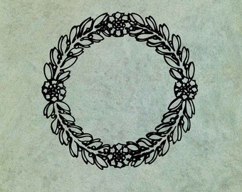 Neoclassical Floral Foliage Wreath - Antique Style Clear Stamp