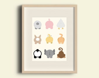 Animal butts wall art print, 8x10 instant digital download