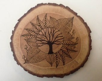 Wood burned tree design  wall art, rustic decorative wall art, free hand pyrography sign, hand made from reclaimed oak branch