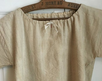 Vintage French raw linen chore dress