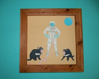 Frontiers in Space- Folk art, Outsider art, original, handmade painting, framed