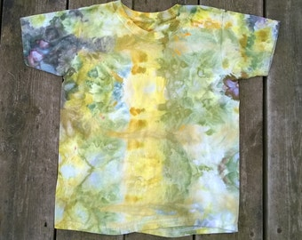 Hand Dyed T-Shirt- Kids Size Medium- Yellow and Green- You are my Sunshine- Boho Hippie Nature Tie Dye