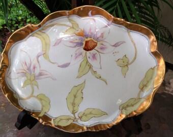 Limoges Hand Painted Porcelain Dresser Tray - Signed:  Elite Works - France