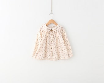 Girls Floral print Peter Pan Collar Blouse Top 100% cotton size 3T - 4T