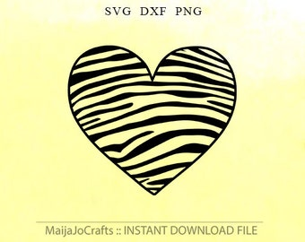HEART SVG Zebra pattern Svg PNG DxF cut files instant download Silhouette cameo designs cricut cut file Heart pattern Birthday heart
