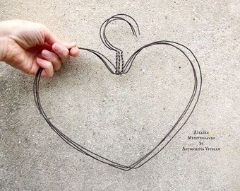 Handmade Heart-Shaped Wire Hangers Set of Three.
