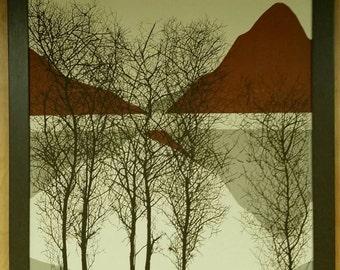 Large Vintage 1970's Signed Jillian Field Landscape Serigraph Print