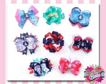 Nautical Hair Bows, Anchor Hair Bows, Summer Hair Bows, Designed by BooBooBeanLLC