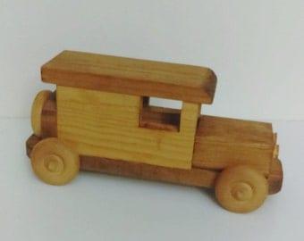 Vintage wooden hand carved Car