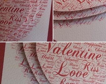 """Handmade framed layered """"Valentine"""" heart in 23 x 23cm white wooden frame"""