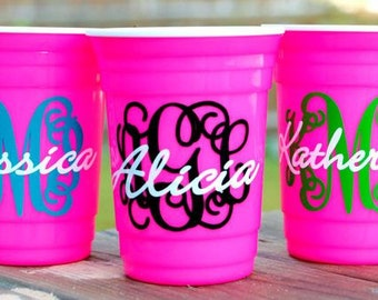 Monogrammed Solo Party Cup With Lid