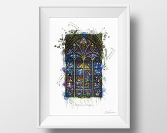 Watercolour Painting; Stained Glass Window; Digital Painting; Church Window; Digital Art Print; Digital Watercolour; Architecture Print