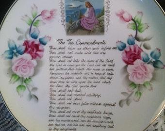 Vintage 10 Commandments Plate, Ries Japan Plate, Ries Japan Glass, 10 Commandments, Floral Plate, Collectible Plate, Plates, Vintage Plate