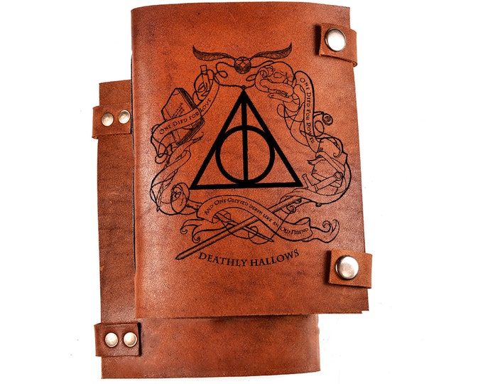 Deathly hallows notebook - Harry Potter - leather notebook - sketchbook - diary - leather journal - three artefacts - Master of Death - gift