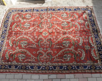 Vintage Turkish Rugs, Isparta Area Rug, Oriental Anatolian Rug, Middle Eastern Rug, Hand Made Rug, Distressed Rug for Living Room
