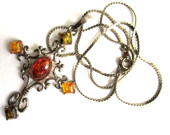 Vintage Sterling Silver Scrollwork Mixed Honey & Cognac Amber Cabochon Cross Pendant Necklace with Silver Tone Chain