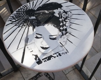 wooden coffee hand painted tribute to memoirs of a Geisha