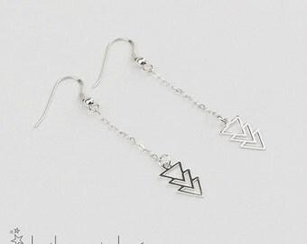 Triangle trio earrings, sterling silver 925