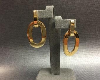 Circle Drop Yellow Gold Earrings