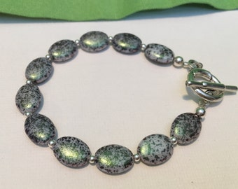 Clearance Sale-Czech glass bead bracelet/iridescent purple and green