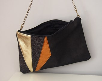 Pouch black leather