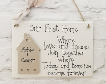 Personalised Our first home plaque