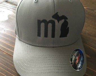 MI Michigan Baseball Cap - Grey