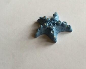 Starfish brooch handmade from polymer clay