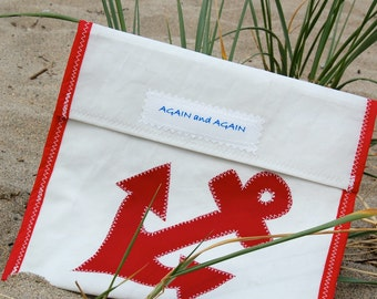 Accessories Pouch - made from recycled sails -Red Anchor