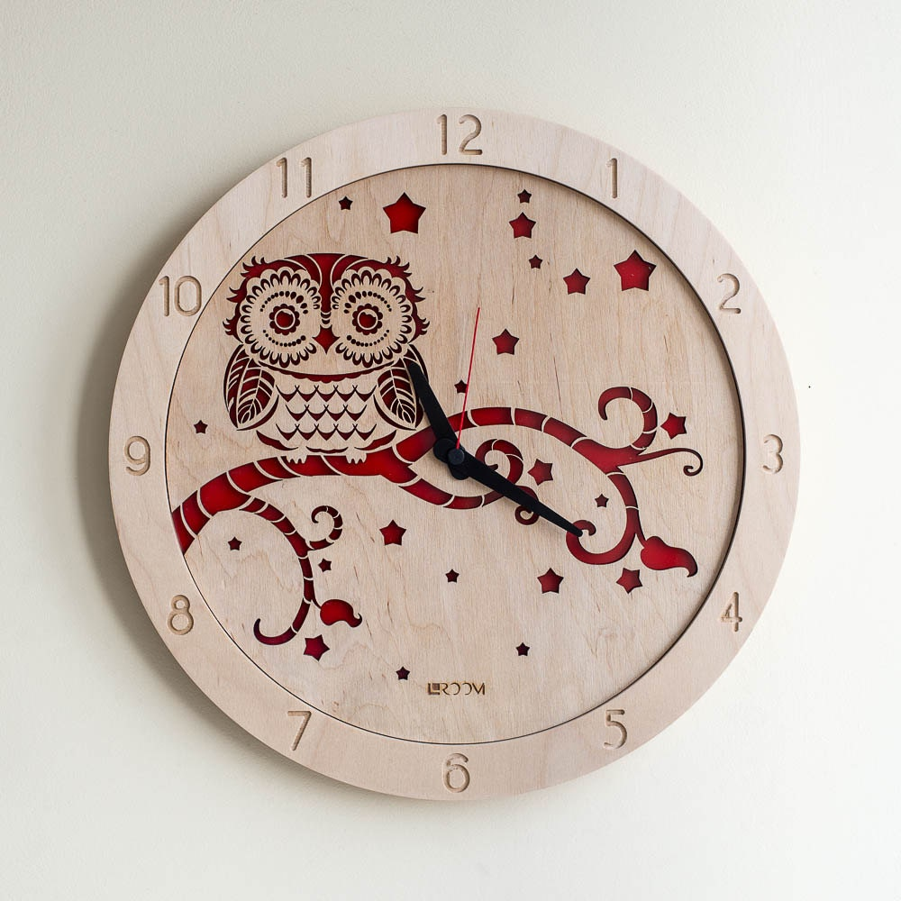 Modern Wall Clock Owl Large Wall Clock Wooden Clock By