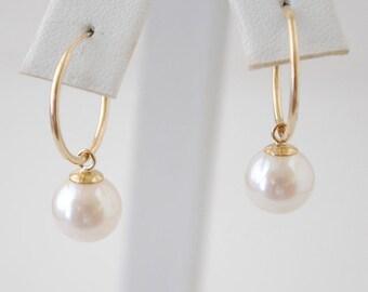 14K Gold and Cultured Pearl Hoop Earrings